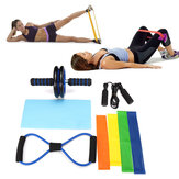 8PCS Home Gym Fitness Set Abdominal Wheel Roller 8 Shape Resistance Bands Yoga Loop Band Jump Rope Kits