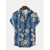 Chemises à manches courtes à col à revers et à imprimé floral pour hommes