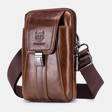 Bullcaptain Retro Genuine Leather Zipper Phone Bag Waist Bag