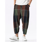 Mens 100% Cotton Plaid Drawstring Elastic Leg Casual Pants With Pocket