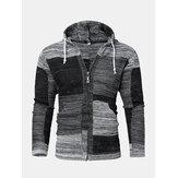 Cardigan maglione con cappuccio e cerniera lavorata a maglia vintage da uomo