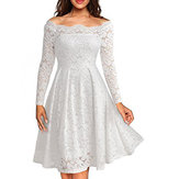 Women Lace Hollow Out Off Shoulder Mid Long Dress