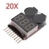 20 x 2 in 1 Lipo Battery Low Voltage Tester 1S-8S Zoemeralarm