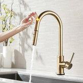 Geborsteld Goud Roestvrijstalen Aanrecht Kranen Mixer 360 ° Rotatie Smart Touch Sensor Trek Warm Koud Water Mengkraan Kraan