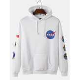 Mens Design Space NASA Print Simple Long Sleeve Cotton Hoodies