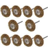 10pcs 3mm tige brosses de roue de fil de laiton pour outil rotatif dremel