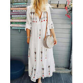 Women V-Neck Ethnic Print Losse Bohemia Long Sleeve Maxi Dresses