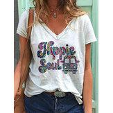 Günlük Rahat Çiçekli Alfabe Araba Baskı Vahşi Gevşek Kadın T-shirt