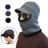 TENGOO 2-en-1 tricoté chapeau écharpe hiver hommes décontracté hiver chapeaux baggy anneau chaud épaissir casquette chapeaux pour les Sports d'hiver en plein air