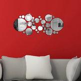 28pcs 3d sticker moderne kunst acryl zilver ronde spiegel verwijderbare muursticker diy home decor