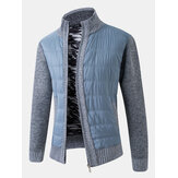 Mens Knitting Patchwork Slant Pocket Zipper Long Sleeve Warm Thick Jacket