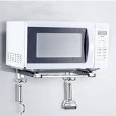 Suporte telescópico de montagem em parede de armazenamento em rack de microondas de aço inoxidável 304 para balcão de cozinha