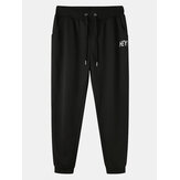 Mens Cotton Letter Print Black Drawstring Sport Jogger Pants