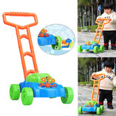 2 in 1 Children Automatic Bubble Machine+Garden Interactive Pushing Lawn Mower with Music Kids Toy Gift