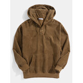 Mens Solid Color Texture Half Button Front Long Sleeve Hoodies With Pocket