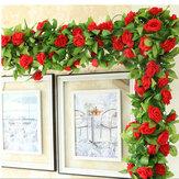 Rosa artificial com folhas verdes faça você mesmo pendurado guirlanda flores videiras para decoração de casamento em casa