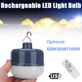 60W 80W 100W USB isi ulang LED Camping Light Bulb Portable luar Hanging Night Lamp dengan Remote Control
