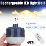 60 W 80 W 100 W USB Şarj Edilebilir LED Kampçılık Ampul Taşınabilir Outdoor Asılı Gece Lamba ile Uzakdan Kumanda