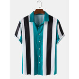 Män Bred Striped Turn Down Collar Kortärmade T-shirts
