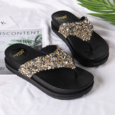 Original              Women Comfy Lightweight Bling Sequined Flip Flops Platform Sandals