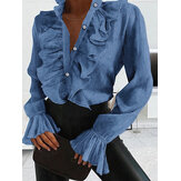 Women Casual V-Neck Solid Color Ruffles Long Sleeve Casual Blouse