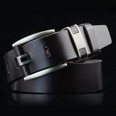 108CM Business Alloy Hebilla Leather Cinturón, pretina lisa