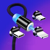 Bakeey Magnetic LED Indicator 2.4A Type C Micro USB Fast Charging Data Cable For Huawei P30 Pro P40 Mi10 K30 Poco X2 S20 5G