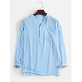 Mens Linen Solid Color Simple 7 Color Casual Long Sleeve Henley Shirts With Pocket