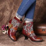 SOCOFY Elegant Tribal Patrón Flower Deco Forrado cálido Gancho y tobillo con cierre de lazo Botas