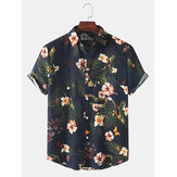 Mens Holiday Casual Floral Print Lapel Button Short Sleeve Shirt