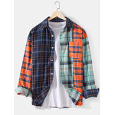 Mens Patchwork Plaid Button Up Chest Pocket Long Sleeve Design Shirts