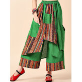 Frauen Vintage Print Patchwork Wide Leg Pants