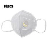 10 Adet KN95 Yüz Maskeleri PM2.5 Arıtma Anti-köpük Sıçrama Geçirmez Maske Toz Geçirmez Yüz Maskesi Solunum Valfi ile
