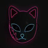 LED Işıklı Maske Cadılar Bayramı Flash Maske Japon Animasyon Dans Sahne EL Aydınlık Kedi Yüz Maske