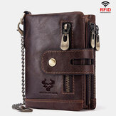 Men Genuine Leather RFID Anti-scanning Anti-Theft Zipper Wallet With Chain