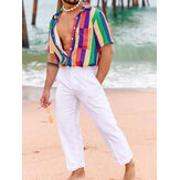 Mens Summer Fashion Rainbow Colorful Camisas a rayas