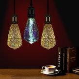E27 4W ST64 3D fuegos artificiales LED Retro Edison bombilla lámpara de vidrio AC85-265V