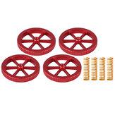 4 peças de metal vermelho atualizado porca de nivelamento aparafusada à mão + 4 peças de mola para peça de impressora 3D série Creality 3D Ender-3