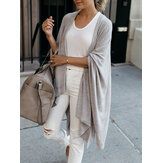 Women Plain Simple Casual Loose Knitted Irregular Hem Cardigan