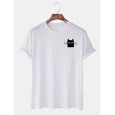 Heren eenvoudige cartoon kat grafische casual T-shirts met korte mouwen
