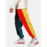 Mens Contrast Drawstring Waist Cuffed Jogger Pants With Pocket