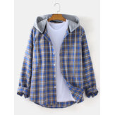 Mens Tartan Longgar Fit Button Up Long Sleeve Drawstring Hooded Jacket