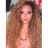 Brązowy Gradient Długie Kręcone Włosy Puszysty Afro Mała Kręcona Peruka Włókna Chemiczne Pełna Peruka