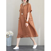 Retro Women Casual Cotton Solid Color Loose Short Sleeve Dress
