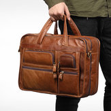 Men Genuine Leather Business Large Capacity Handbag Briefcase