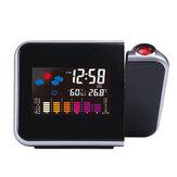 Proyección de Pantalla LED de Temperatura y Humedad Loskii DC-003 Reloj de Alarma de Estación del Tiempo