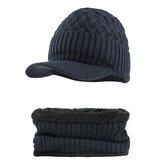 Outdoor Winter Plus Samtstrick Hut Schal Set Ohrenschützer Cap