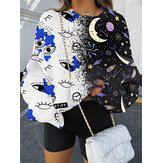 Frauen Cartoon Grafiken Patchwork Pullover lose Sweatshirts