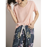 Women Short Sleeve Tops Tropical Floral Print Wide Leg Pants Soft Pajama Set