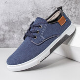 Men Canvas Breathable Comfy Soft Sole Non Slip Lace Up Casual Working Court Shoes